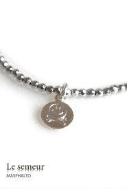 MASPHALTO × Le semeur スマイル & ボーン ネックレス smile necklace (シルバーヘマタイト×SILVER925)