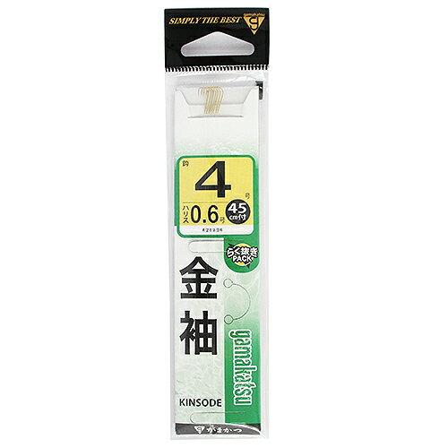 がまかつ 糸付 金袖 針4号−ハリス0.6号【ゆうパケット】