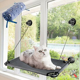 Masthomeヤマト配送 猫 ハンモック 4個吸盤 窓 ペットハンモック キャットハンモック 猫のハンモックベッド ゲージ 猫用品 昼寝 日向ぼっこ 吊るす 小動物 耐荷重10KG ストレス解消 取り付け簡単 冬夏両用