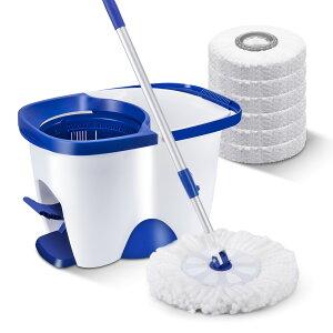 Masthome 回転モップ 7.8Lバケツ付き 足踏みタイプ 床掃除モップセット 長さ調節可 洗浄機能付 フロア掃除用品 クロス6枚付き