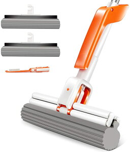 予約販売Masthome 吸水スポンジモップ フロアモップ ワイパー 水絞り器付 床掃除モップ フローリング 掃除 フラットモップ 手洗い不要 交換用スペア1枚付き