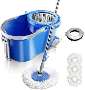 高品質Masthome 送料無料 回転モップ フロアモップ 12Lバケツセット 水切り 二槽式 取り外し可能 モップ絞り器 360回転 水拭きモップ 伸縮でき ホイール付き 床掃除 家庭用 業務用 パッド3枚付き