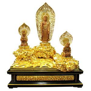 木彫り彫刻・仏像阿弥陀三尊 (インド白檀・金箔仕上)阿弥陀如来、勢至菩薩、観音菩薩 木彫 仏像販売