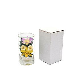 プリザーブドフラワー『グラスフラワーS1049』シングルタイプ(箱付き)★ガラスの器入りSサイズ(高さ約12cm)きれいなプリザーブドフラワー プレゼントプリザーブドフラワー 観賞用プリザーブドフラワー 仏花 造花 お供え花 お盆仏花 お彼岸仏花