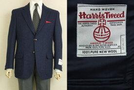 【Harris Tweed ハリスツィード】【AB4】【日本製】【秋冬】2ボタンジャケット/ネイビー無地【送料無料】