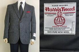 【Harris Tweed ハリスツィード】【A4】【日本製】【秋冬】2ボタンジャケット/黒×グレーヘリンボン【送料無料】