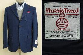 【Harris Tweed ハリスツィード】【A体】【AB体】【日本製】【秋冬】段返り3ボタンジャケット/ブルー無地(霜降り)