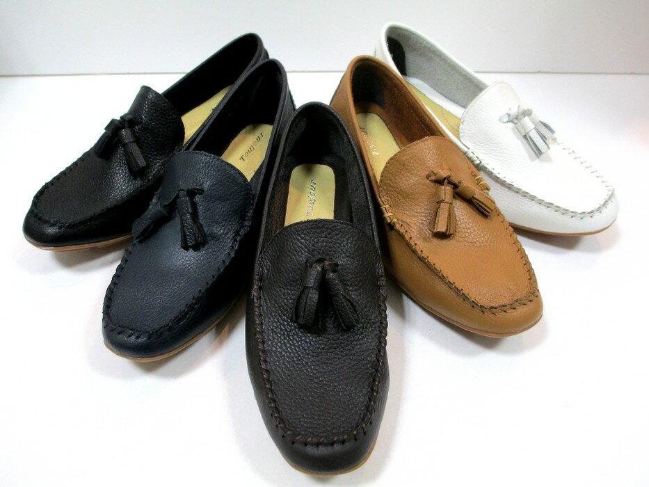 【履くほどに愛着が湧く、手放せない1足になりそう。】[Toujour] 20 レディース カジュアル タッセル ドライビングシューズ モカシン インヒール 天然皮革 サブリナ 仕事靴 ブラック・ブルー・ダークブラウン・キャメル・ホワイト