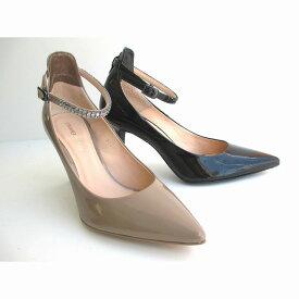 ストロベリーフィールズ STRAWBERRY-FIELDS 2600 日本製 レディース エナメルパンプス ピンヒール フォーマル靴 パーティー靴 仕事靴 通勤靴 ブラックE NベージュE