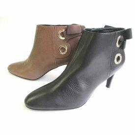 ストロベリーフィールズ STRAWBERRY-FIELDS ST8713 レディース ショートブーツ ポインテッドトゥ ピンヒール バックリボン 仕事靴 通勤靴 ブラック キャメル