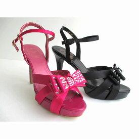 ストロベリーフィールズグレース STRAWBERRY-FIELDS grace STG6164 レディース 天然皮革 ピンヒール サンダル パーティー靴 リボン 通勤靴 フォーマル靴 ピンクファブリック