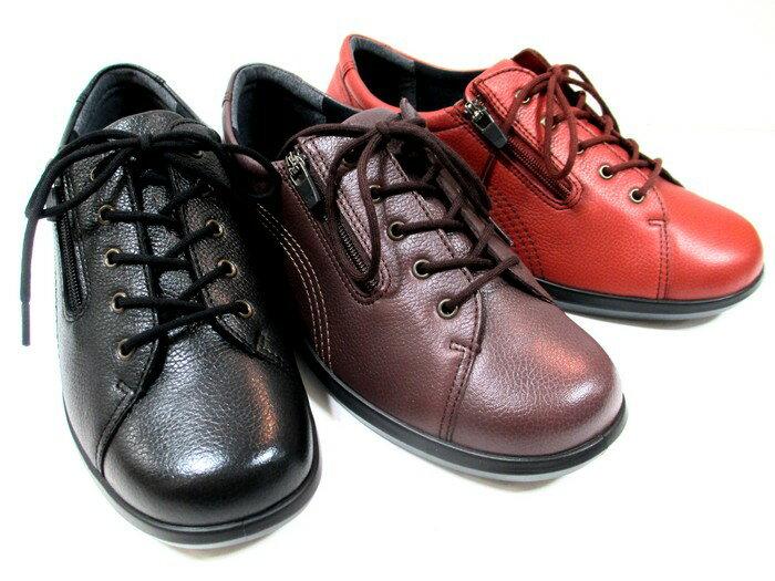 [アキレス ソルボ]【履くほどに愛着が湧く、手放せない1足になりそう。]ACHILLES SORBO SRL0520 レディース レースアップウォーキングシューズ コンフォートシューズ フラット ファスナー付 本革 通勤靴 仕事靴 トラベル靴 ブラック・バーガンディ・レッドブラウン