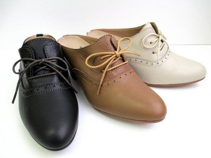 [イング] 【履くほどに愛着が湧く、手放せない1足になりそう。】ING ing 2612 レディース レースアップ ミュール ラウンド 通勤靴 仕事靴 日本製 ブラック・シナモン・アイボリー