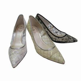 ストロベリーフィールズグレース STRAWBERRY FIELDS grace STG6407 レディース 革靴 チュール ポインテッドトゥ パーティー靴 通勤靴 ブラックF ゴールドF シルバーF