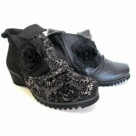 フィズリーン FIZZ REEN fizzreen 8707 レディース ブーティー サイドゴア 花コサージュ 軽量 通勤靴 ブラック グレー