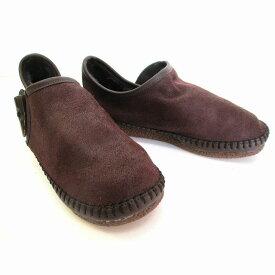 アンナコレクション ANNA COLLECTION 4951 レディース カジュアルシューズ フェイクムートン フラット リゾート靴 スリッポン 仕事靴 ダークブラウン