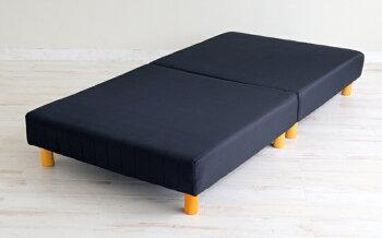 ボンネルコイルマットレスベッド(分割式・12cm脚)ブラックセミシングル