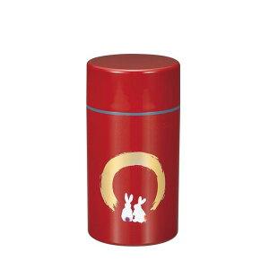 茶筒 月うさぎ 朱 大山中漆器 山中塗 赤 きれい かわいい おしゃれ 紅茶 コーヒー豆 日本茶 保存容器 日本製