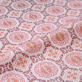 蜀江 向い鳳凰 蝶 ピンク 西陣織 錦裂 正絹 シルク 巾60cm 長さ10cm単位 和柄生地 布地 はぎれ 端切れ カットクロス 和布 和風生地 和生地
