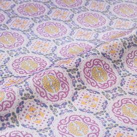 正絹 はぎれ 蜀江 向い鳳凰 蝶 白・紫 西陣織 錦裂 シルク 巾60cm 和柄生地 布地 端切れ カットクロス 和布 和風生地 長さ10cm単位