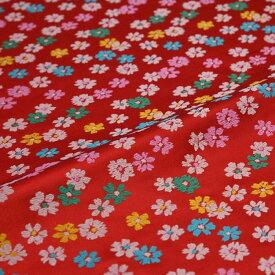 小花散らし 赤 西陣織 錦裂 正絹 シルク 巾60cm 長さ10cm単位 和柄生地 布地 はぎれ 端切れ カットクロス 和布 和風生地 和生地
