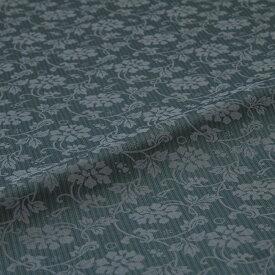 牡丹唐草 矢鱈縞 緑 西陣織 緞子 表具地 正絹 シルク化繊混紡 シルク 巾60cm 長さ10cm単位 和柄生地 布地 はぎれ 端切れ カットクロス 和布 和風生地 和生地