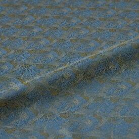流水 波頭 青緑 西陣織 緞子 表具地 正絹 シルク化繊混紡 半巾30cm 長さ10cm単位 和柄生地 布地 はぎれ 端切れ カットクロス 和布 和風生地 和生地