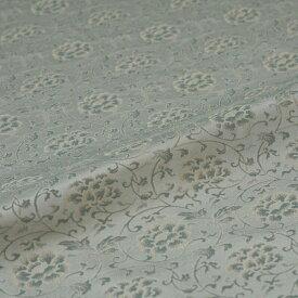 牡丹唐草 緑 西陣織 緞子 表具地 正絹 シルク化繊混紡 半巾30cm 長さ10cm単位 和柄生地 布地 はぎれ 端切れ カットクロス 和布 和風生地 和生地