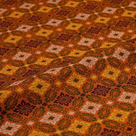 小葵 有職文様 オレンジ 西陣織 緞子 表具地 正絹 シルク 半巾30cm 長さ10cm単位 和柄生地 布地 はぎれ 端切れ カットクロス 和布 和風生地 和生地