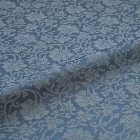 牡丹唐草 青 西陣織 緞子 表具地 正絹 シルク 巾60cm 長さ10cm単位 和柄生地 布地 はぎれ 端切れ カットクロス 和布 和風生地 和生地