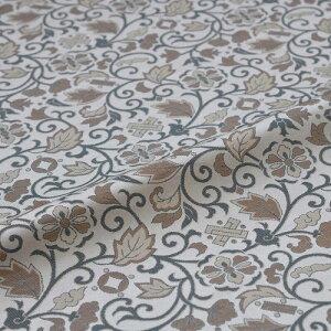 花唐草 ベージュ 西陣織 緞子 表具地 正絹 シルク 半巾30cm 長さ10cm単位 和柄生地 カバー はぎれ 端切れ カットクロス 和布 和風生地 和生地