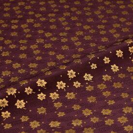 竜田川 楓 流水 紫 西陣織 表具地 正絹 シルク化繊混紡 巾60cm 長さ10cm単位 和柄生地 布地 はぎれ 端切れ カットクロス 和布 和風生地 和生地