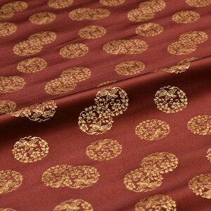 桜鳳凰丸紋 茶 西陣織 正絹 シルク 巾60cm 長さ10cm単位 和風小物 布地 はぎれ 端切れ カットクロス 和布 御朱印帳 カバー