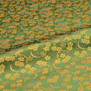 雪月花 桜 雪輪 月 緑 西陣織 正絹 シルク 巾30cm 長さ10cm単位 和風小物 布地 はぎれ 端切れ カットクロス 和布 御朱印帳 カバー