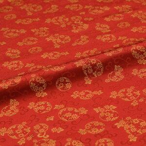 花丸紋 唐草 赤 西陣織 正絹 シルク 巾30cm 長さ10cm単位 和風小物 布地 はぎれ 端切れ カットクロス 和布 御朱印帳 カバー