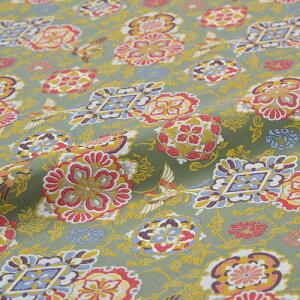 鳳凰 花唐草 緑 西陣織 正絹 シルク 巾60cm 長さ10cm単位 和風小物 布地 はぎれ 端切れ カットクロス 和布 御朱印帳 カバー