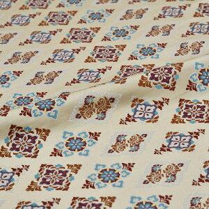 菱 花 茶 西陣織 正絹 シルク 巾30cm 長さ10cm単位 和風小物 布地 はぎれ 端切れ カットクロス 和布 御朱印帳 カバー