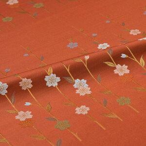枝垂桜 茶 西陣織 正絹 シルク 巾30cm 長さ36cm単位 和風小物 布地 はぎれ 端切れ カットクロス 和布 御朱印帳 カバー