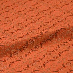鹿 唐花 橙 西陣織 正絹 シルク 巾60cm 長さ10cm単位 和風小物 布地 はぎれ 端切れ カットクロス 和布 御朱印帳 カバー
