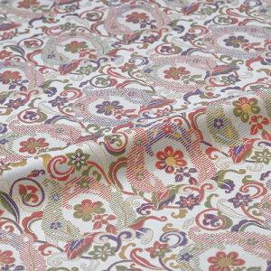 花唐草 白 西陣織 正絹 シルク 巾60cm 長さ10cm単位 和風小物 布地 はぎれ 端切れ カットクロス 和布 御朱印帳 カバー