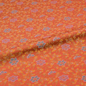 花唐草 橙 西陣織 正絹 シルク 巾60cm 長さ10cm単位 和風小物 布地 はぎれ 端切れ カットクロス 和布 御朱印帳 カバー