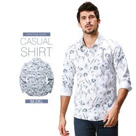 カジュアルシャツ コットンシャツ Yシャツ 長袖シャツ メンズ 春夏 カジュアル 綿 長袖 トップス ブルー/白 花柄 スリム M L XL 2XL MATCH麻吉[送料無料]