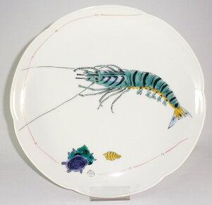 九谷焼 車海老 梅型8号皿 和食器 食器 陶器プレゼント ギフト 贈リ物 祝 お祝い 記念品