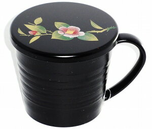 会津塗 黒彩美(椿)漆器マグカップ 花柄 プレゼント ギフト 贈リ物 祝 お祝い 記念品