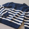 Children's clothes baby boy sweater summer sweater long sleeves white horizontal stripe stripe white navy foreign countries brand import 70cm 80cm 90cm