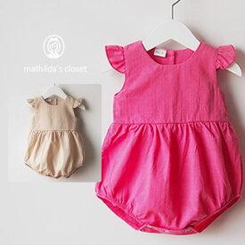 bfd8681b140af 新生児 ベビーロンパース 赤ちゃん 女の子 ロンパース 半袖 ピンク ベージュ