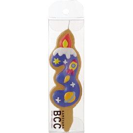カメヤマキャンドル クッキーナンバーキャンドル3番 ロケット(1個入)/ カメヤマ