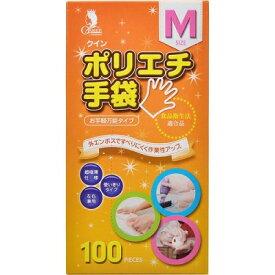 (送料無料)(まとめ買い・ケース販売)クイン ポリエチ手袋 Mサイズ(100枚入)(40個セット)/ 宇都宮製作