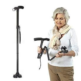 ケーンセーフ ショートタイプ CaneSafe 折りたたみ杖 LEDライト搭載 ショートステッキ つえ ステッキ 母の日ギフト 父の日ギフト 敬老の日ギフトに ま