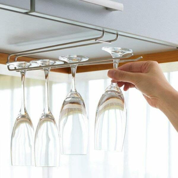 ヨシカワ アンダーワイングラスホルダー ワイングラス収納 Under wine glass holder 棚板 吊戸棚 に差し込むだけ